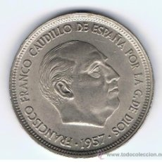 Monedas Franco: MONEDA DE 50 PESETAS, AÑO 1957 *59, ESTADO EBC+, VER FOTOS. Lote 26283858