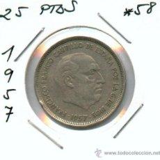 Monedas Franco: 25 PESETAS DE 1957*58..MONEDA DEL ESTADO ESPAÑOL. EMITIDA POR FRANCISCO FRANCO. Lote 19989778