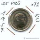 Monedas Franco: FUERA DE SERIE POR SU RAREZA EN ESTA CALIDAD. 25 PESETAS AÑO 1957*71 SIN CIRCULAR ¡OJO ESTRELLA *71!. Lote 26335245