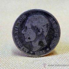 Monedas Franco: MONEDA ANTIGUA, DE 2 PESETAS, 1881, ALFONSO XII, DE PLATA. Lote 25024728