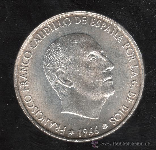MONEDA DE 100 PESETAS. 1966 - ESTRELLA 69 PALO RECTO S/C (Numismática - España Modernas y Contemporáneas - Estado Español)
