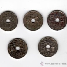 Monedas Franco: 5 MONEDAS DE 50 CÉNTIMOS AÑO 1949 *52 53 54 56 62. Lote 33457218