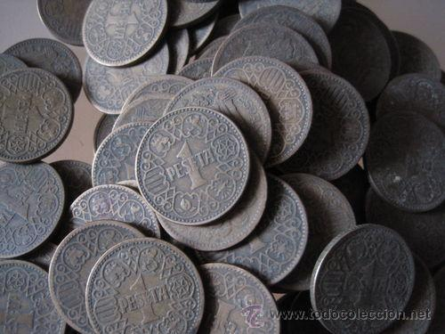 LOTE DE 100 MONEDAS DE 1 PESETA 1944 (Numismática - España Modernas y Contemporáneas - Estado Español)