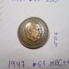 Monedas Franco: RARA PESETA 1947 *51 MBC++ FRANCO COLECCION PARTICULAR. Lote 36804963