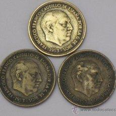 Monedas Franco: LOTE DE TRES MONEDAS DE 2,50 PESETAS. AÑO : 1953 * 54.. Lote 37472117