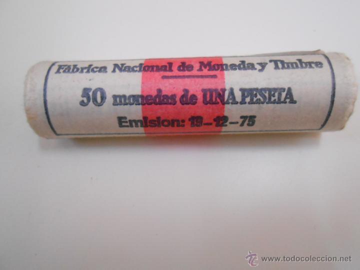 LOTE DE 50 MONEDAS ANTIGUAS DE 1 PESETA. EMISION 19-12-1975. FABRICA NACIONAL DE MONEDA Y TIMBRE (Numismática - España Modernas y Contemporáneas - Estado Español)