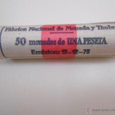 Monedas Franco: LOTE DE 50 MONEDAS ANTIGUAS DE 1 PESETA. EMISION 19-12-1975. FABRICA NACIONAL DE MONEDA Y TIMBRE. Lote 42761441