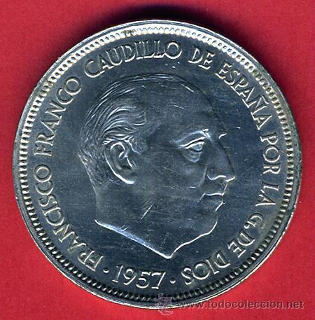 Monedas Franco: MONEDA 50 PESETAS FRANCO 1957 , SERIE BA , EXPOSICION BARCELONA , F8 - Foto 2 - 43185202