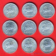 Monedas Franco: LOTE 9 MONEDAS DE 5 CENTIMOS 1940 , ALUMINIO , EBC , ORIGINALES, RARAS. Lote 111905722