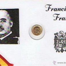 Monedas Franco: CARNET DE FRANCISCO FRANCO PLASTIFICADO CON PEQUEÑA MONEDA 100 PTAS. 1966. Lote 43960010