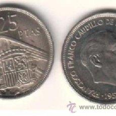 Monete Franco: ESPAÑA: 25 PESETAS FRANCO 1957 ESTRELLA 74 S/C DEL CARTUCHO 1974 ***NUMISBUR*** . Lote 45309800