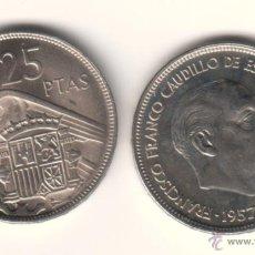 Monete Franco: ESPAÑA: 25 PESETAS FRANCO 1957 ESTRELLA 72 S/C DEL CARTUCHO 1972 **NUMISBUR**. Lote 45310022