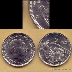 Monedas Franco: ESPAÑA SPAIN ESTADO ESPAÑOL 5 PESETAS 1957 *75 KM 786 SC UNC. Lote 176326209