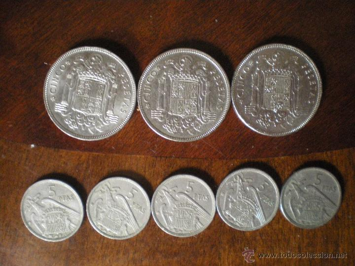 Monedas Franco: LOTE DE TRES MONEDAS DE CINCO PESETAS FRANCO-1949 Y CINCO MONEDAS DE CINCO PESETAS FRANCO-1957 - Foto 2 - 48739517