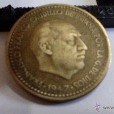 Monedas Franco: ERROR UNA PESETA DE 1947, ESTRELLA 56. Lote 48858446