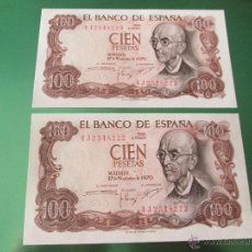 Monedas Franco: X-AºLOTE 2 BILLETES CORRELATIVOS-ESPAÑA-100 PESETAS-17 NOVIEMBRE DE 1970-PLANCHA-VER FOTOS.. Lote 49125267
