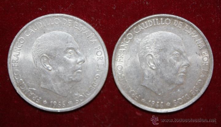 2 MONEDAS DE 100 PESETAS 1966 DE PLATA, FRANCO ,ORIGINAL (Numismática - España Modernas y Contemporáneas - Estado Español)