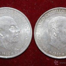 Monedas Franco: 2 MONEDAS DE 100 PESETAS 1966 DE PLATA, FRANCO ,ORIGINAL. Lote 49414331