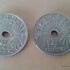 Monedas Franco: LOTE DE 2 MONEDAS DE25 CÉNTIMOS - 1937. Lote 50542297