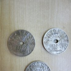 Monedas Franco: 3 MONEDAS DE 25 CTMOS EMITIDAS POR FRANCO EN 1937 (GUERRA CIVIL). Lote 50701323