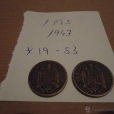 Monedas Franco: LOTE DE 2 MONEDAS DE 1 PESETA DE 1947 *19*53. Lote 52154340