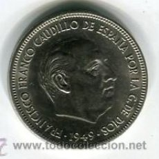 Monedas Franco: CINCO (5) PESETAS MODULO GRANDE ESTADO ESPAÑOL 1949 *50. Lote 52311852