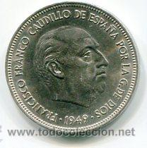 CINCO (5) PESETAS MODULO GRANDE ESTADO ESPAÑOL 1949 *50 (Numismática - España Modernas y Contemporáneas - Estado Español)