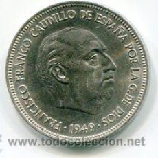 Monedas Franco: CINCO (5) PESETAS MODULO GRANDE ESTADO ESPAÑOL 1949 *50. Lote 52313245