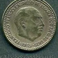 Monnaies Franco: ESPAÑA 1 PESETAS AÑO 1953 *1963 ( GENERAL DICTADOR FRANCISCO FRANCO - MONEDA DEL FRANQUISMO ) Nº3. Lote 52461341