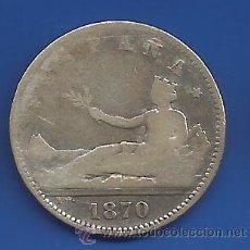 Monedas Franco: GOBIERNO PROVISIONAL 1 PESETA PLATA 1870 * XX-70 SN M BC/BC+. Lote 53620765