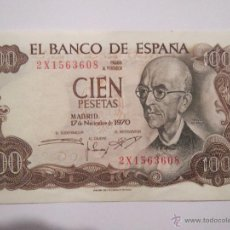 Monedas Franco: BILLETE 100 PESETAS 2X1563608 MADRID 17 NOV 1970 EN BUEN ESTADO. Lote 53976466