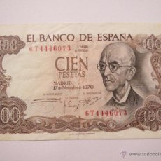 Monedas Franco: BILLETE 100 PESETAS 6T4446073 MADRID 17 NOV 1970 EN BUEN ESTADO. Lote 53976509