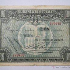 Monedas Franco: BILLETE 100 PESETAS 149435 BILBAO 1 ENE 1937 BANCO VIZCAYA USADO. Lote 53976581