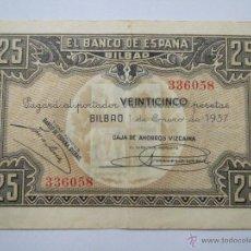 Monedas Franco: BILLETE 25 PESETAS 516096 BILBAO 1 ENE 1937 BANCO DEL COMERCIO USADO. Lote 53976624