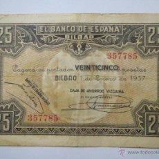 Monedas Franco: BILLETE 25 PESETAS 336059 BILBAO 1 ENE 1937 CAJA DE AHORROS VIZCAINA USADO. Lote 53976691