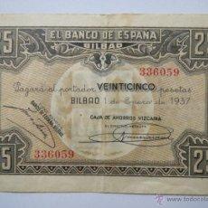 Monedas Franco: BILLETE 25 PESETAS 357785 BILBAO 1 ENE 1937 CAJA DE AHORROS VIZCAINA USADO. Lote 53976720