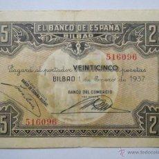 Monedas Franco: BILLETE 25 PESETAS 336058 BILBAO 1 ENE 1937 CAJA DE AHORROS VIZCAINA USADO. Lote 53976744
