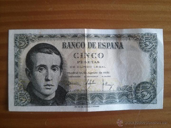 BILLETE ESPAÑA 5 PESETAS JAIME BALMES AÑO 1951 USADO (Numismática - España Modernas y Contemporáneas - Estado Español)