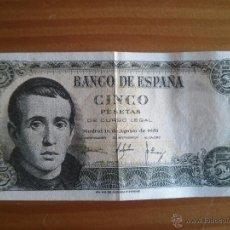 Monedas Franco: BILLETE ESPAÑA 5 PESETAS JAIME BALMES AÑO 1951 USADO. Lote 54439964