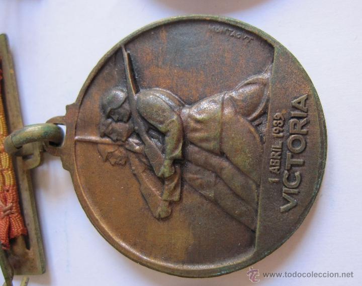 Monedas Franco: 3 Medallas Alzamiento Victoria. España. Ejército Nacional. 1936-1939. Guerra Civil Española. 3,20 CM - Foto 7 - 54846932