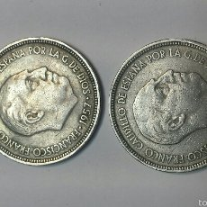 Monedas Franco: PAREJA MONEDAS 5 PESETAS AÑO 1957 ESTRELLA 64. Lote 56088490