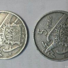 Monedas Franco: PAREJA MONEDAS 5 PESETAS AÑO 1957 ESTRELLA 60. Lote 56088530