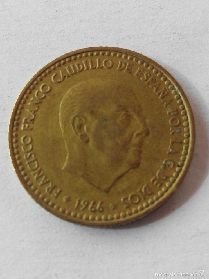 Monedas Franco: MONEDA ESPAÑA 1 PESETA 1966 *69 . MBC - Foto 2 - 58559776