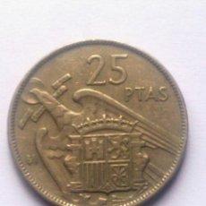 Monedas Franco: MONEDA 25 PESETAS. AÑO 1957.SERIE BA.. Lote 60126943