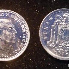 Monedas Franco: DOS MONEDAS 1 PESETA 1966 CON BAÑO DE NÍQUEL . Lote 61546772