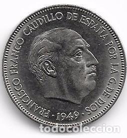 CINCO PESETAS FRANCO 1949 . ESTRELLA 49 (Numismática - España Modernas y Contemporáneas - Estado Español)
