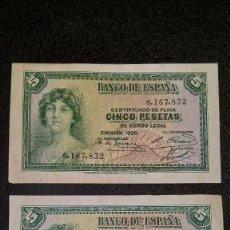Monedas Franco: 2 BILLETES DE 5 PESETAS. C.PLATA 1.935. SIN SERIES. MBC + ORIGINALES Y COLECCIONADOS. DESC Y FOTOS. Lote 64548291