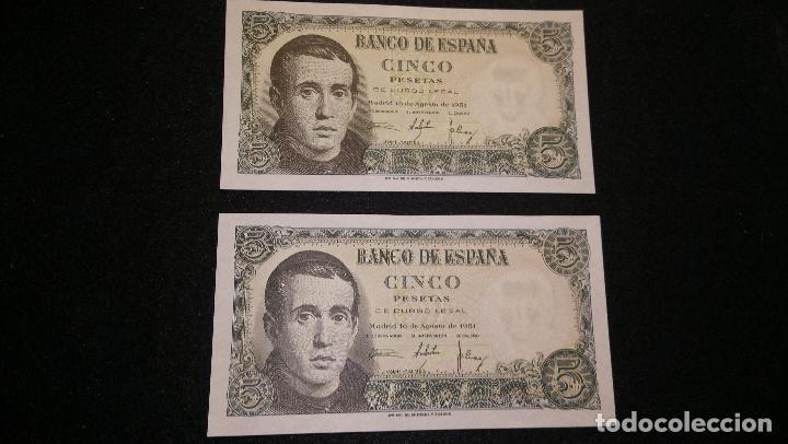 Monedas Franco: PAREJA CORRELATIVA. 2 BILLETES 5 PESETAS. JAIME BALMES. 1.951. S/C. DESCRIPCION Y FOTOS. DELANT/T - Foto 2 - 64655163