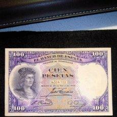 Monedas Franco: PAREJA CORRELATIVA. BILLETES 100 PTAS. GONZALO F.C. 1.931 SIN SERIE. BUEN ESTADO. FOTOS DIVERS. Lote 64746611
