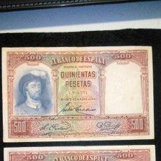 Monedas Franco: 2 BILLETES 500 PESETAS. J.SEBASTIAN. 25.04.1.931 SIN SERIE. NUME MUY BAJA. FOTOS VARIAS Y DESCRIP. Lote 64778119